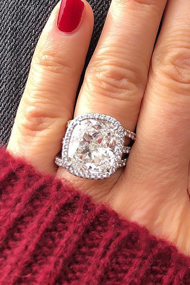 diamond engagement rings halo cushion cut pave band modern