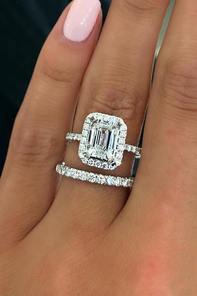 diamond engagement rings halo pave band wedding set emerald