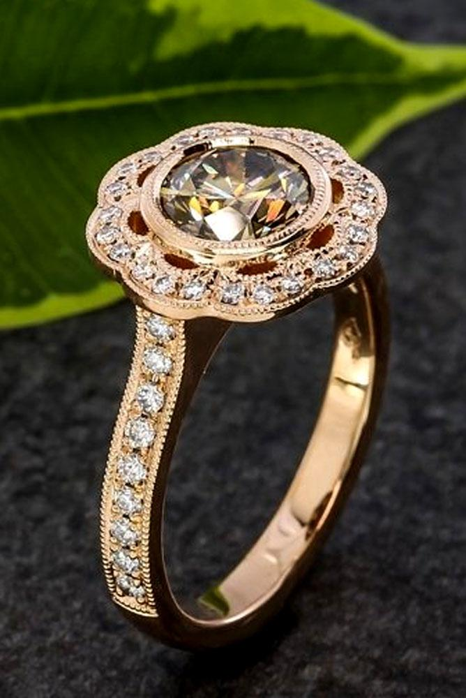 diamond engagement rings in rose gold pave band round cut diamond