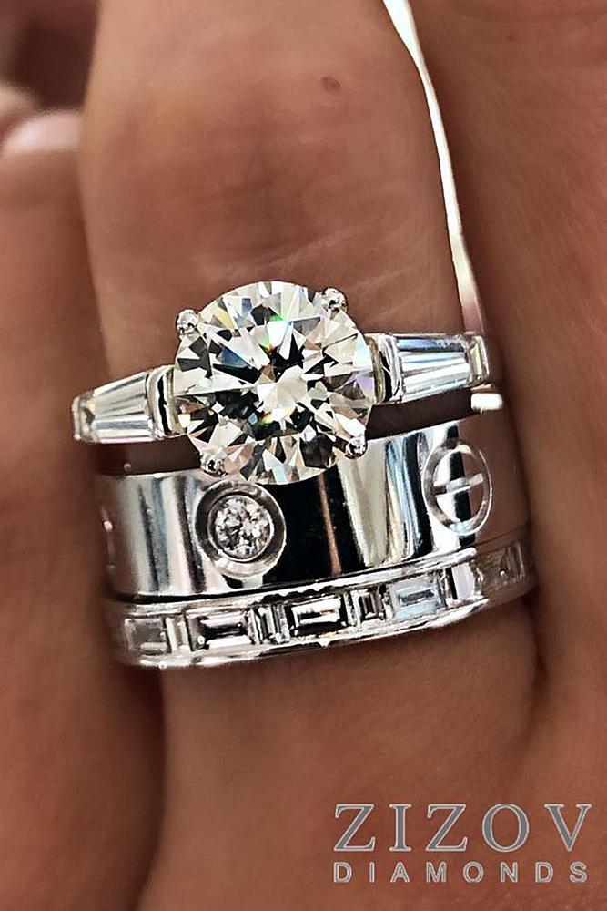diamond engagement rings modern round cut diamond white gold
