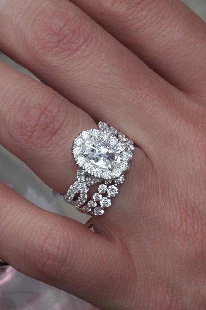 diamond engagement rings oval cut halo wedding set white gold