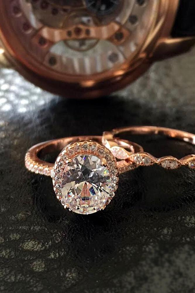 diamond engagement rings oval halo rose gold pave band