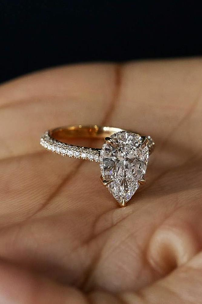 diamond engagement rings pear cut solitaire rose gold pave band