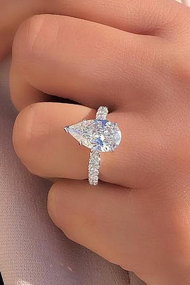 diamond engagement rings pear cut solitaire white gold