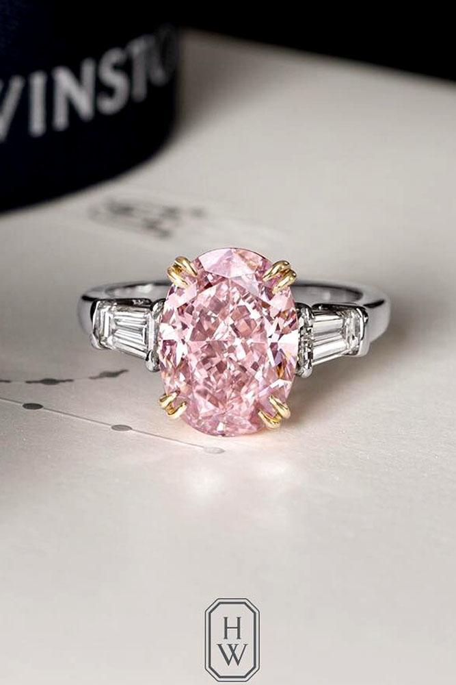 diamond engagement rings pink oval diamond white gold