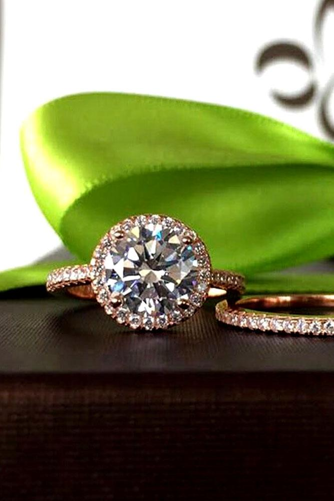 diamond engagement rings rose gold halo pave band round cut diamond