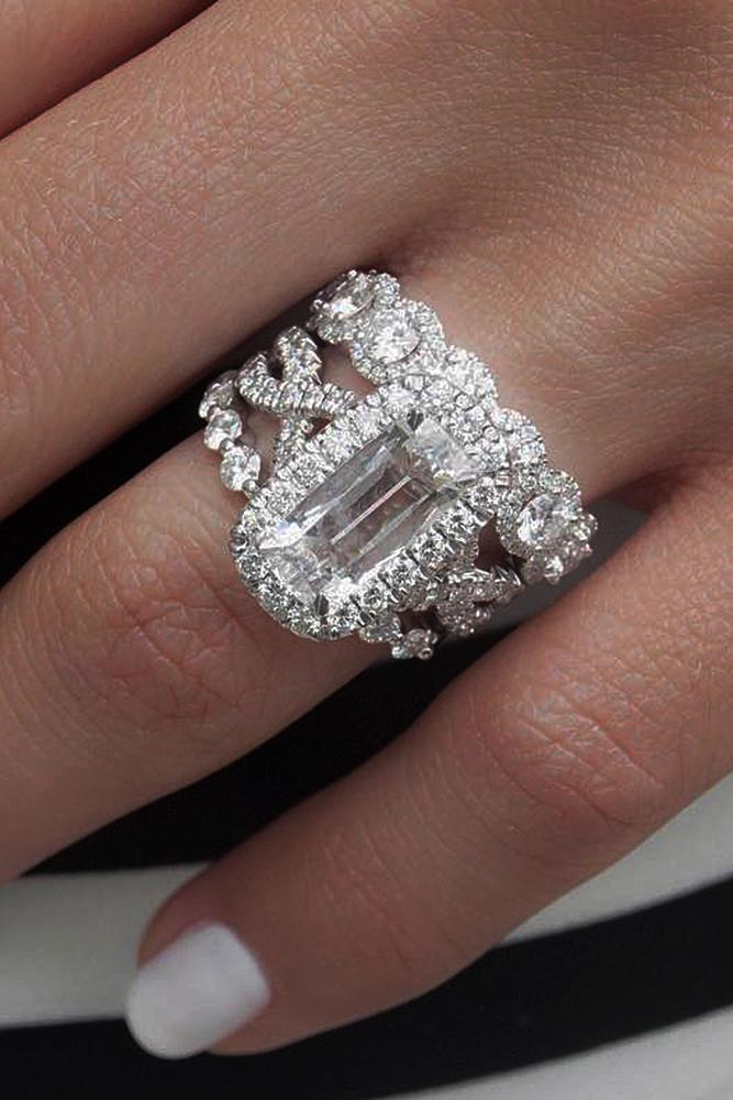 diamond engagement rings wedding set emerald cut halo