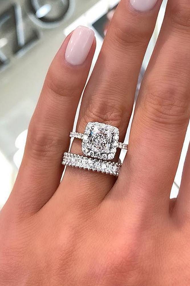 diamond engagement rings white gold cushion cut brilliant bridal set
