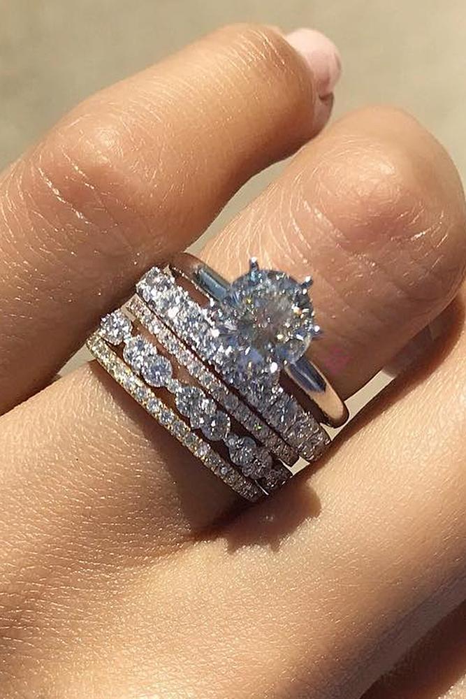 diamond engagement rings white gold simple round cut diamond