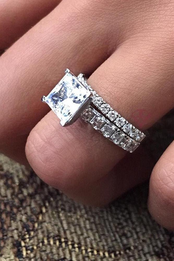 diamond engagement rings white gold simple solitaire princess cut diamond sparkling
