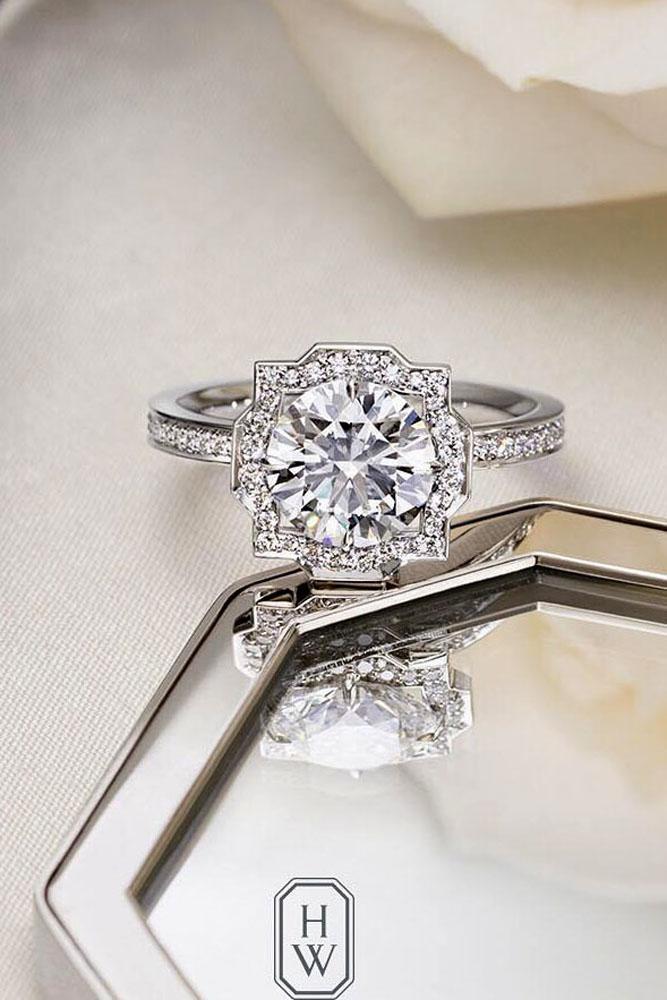 diamond engagement rings white gold vintage round cut halo