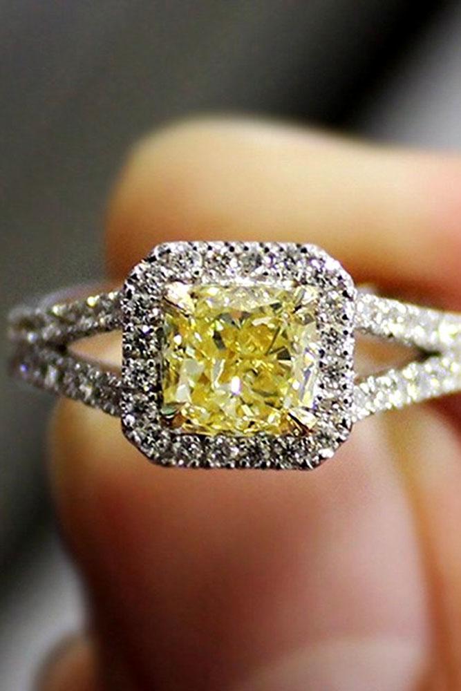 diamond engagement rings white gold yellow princess cut diamond halo