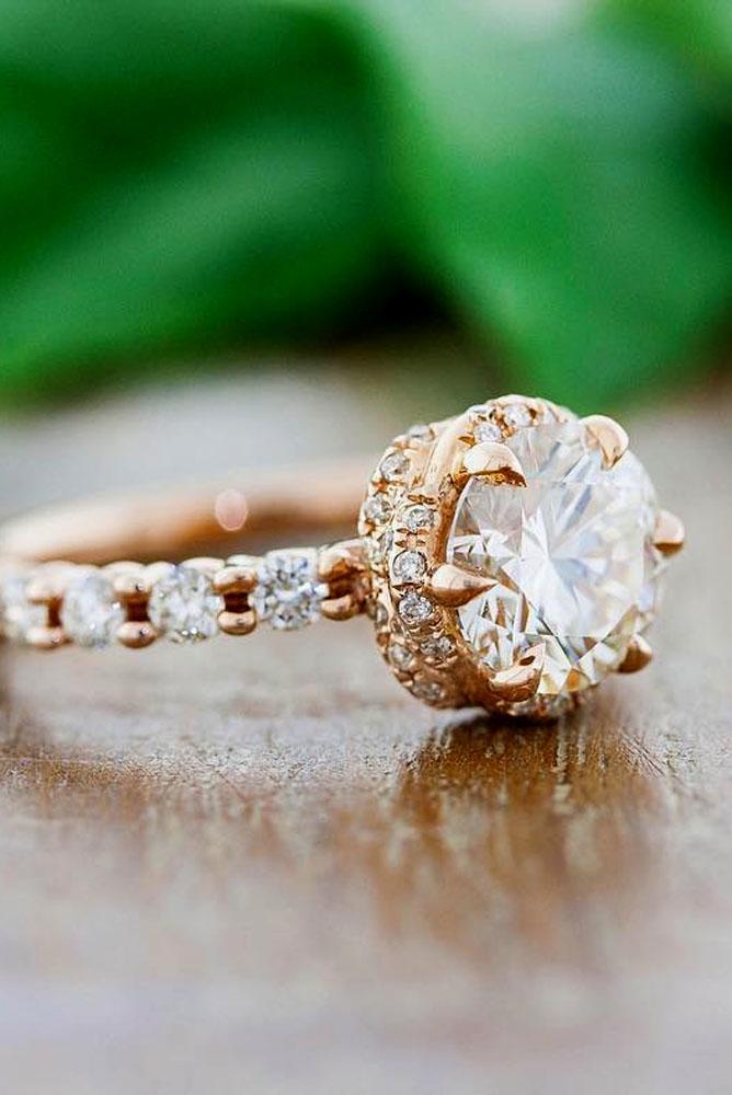 diamond vintage engagement rings round diamond in rose gold