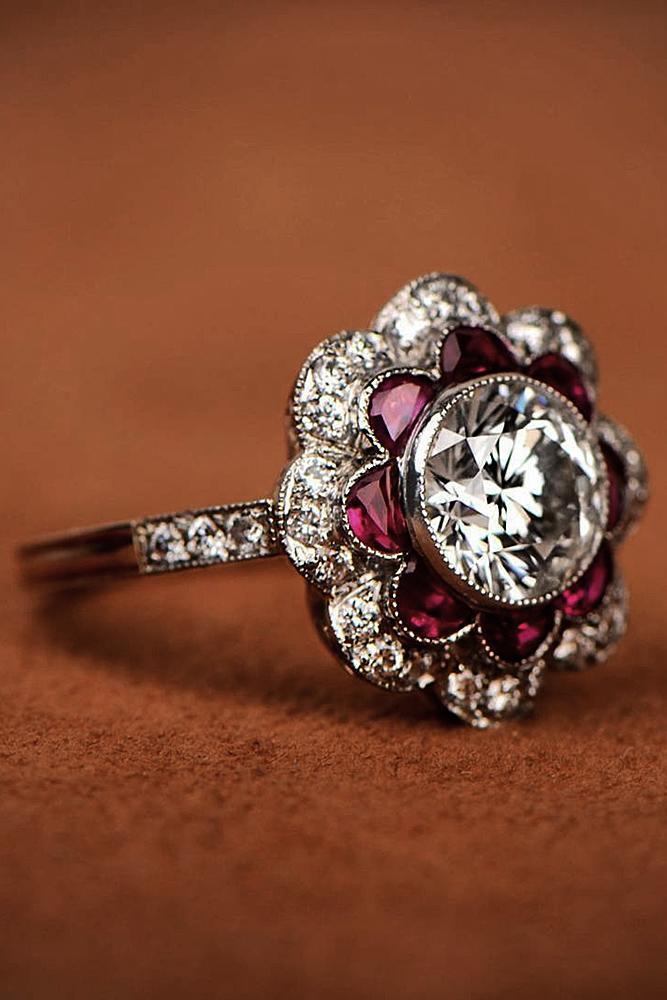 floral engagement rings diamond round cut halo vintage