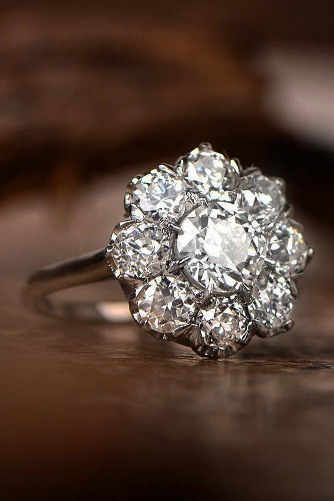 floral engagement rings halo diamond gold round cut