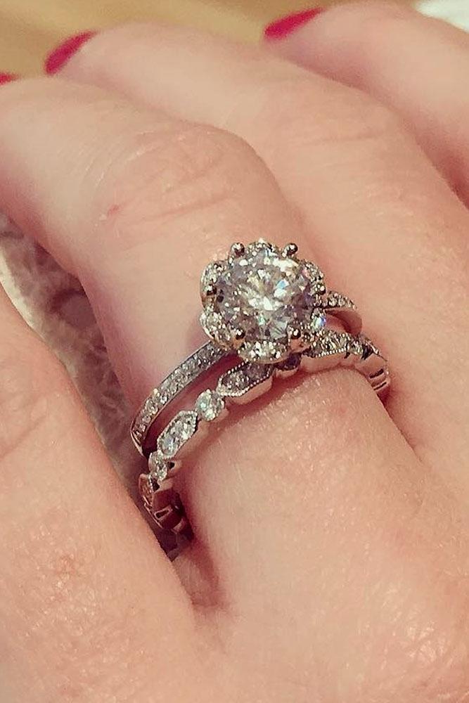 floral engagement rings white gold wedding set