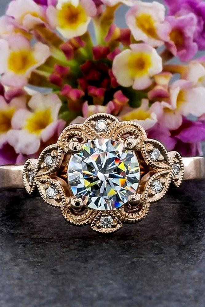 floral engagement rings rose gold round cut diamonds