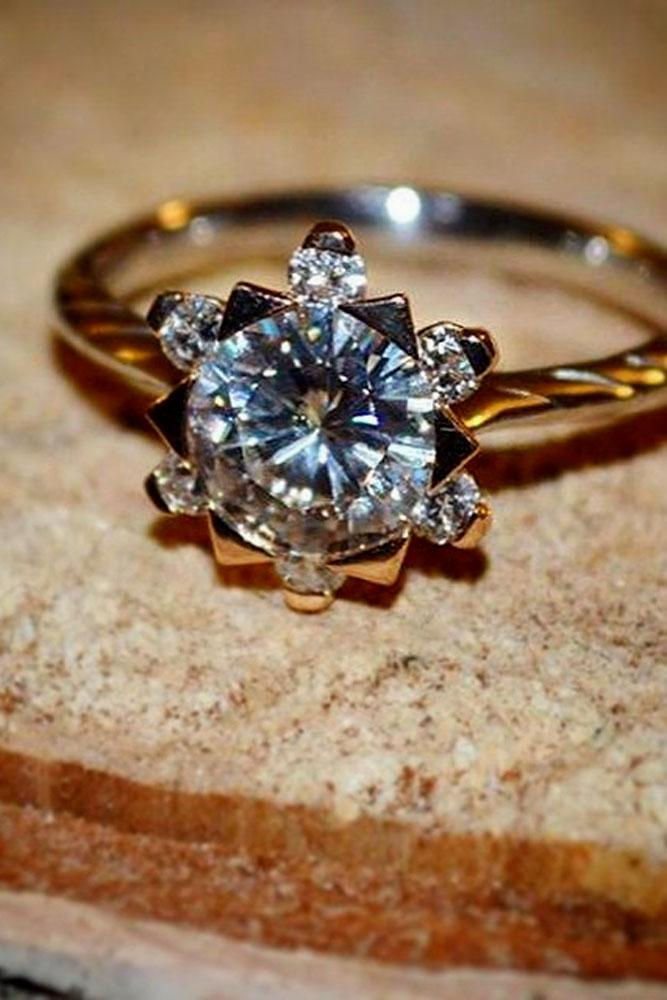 floral engagement rings rose gold simple round cut