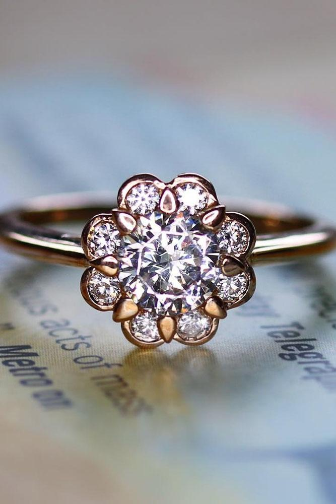 floral engagement rings rose gold solitaire round cut