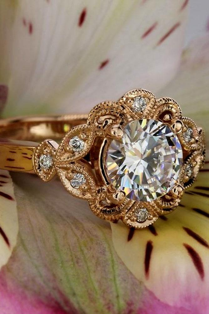 floral engagement rings rose gold vintage ring with diamond round cut