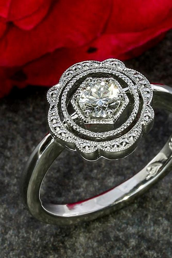 floral engagement rings round center stone white gold