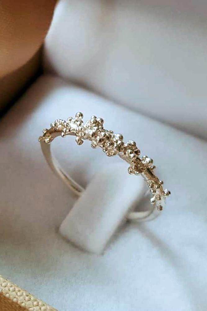 floral engagement rings unique band gold