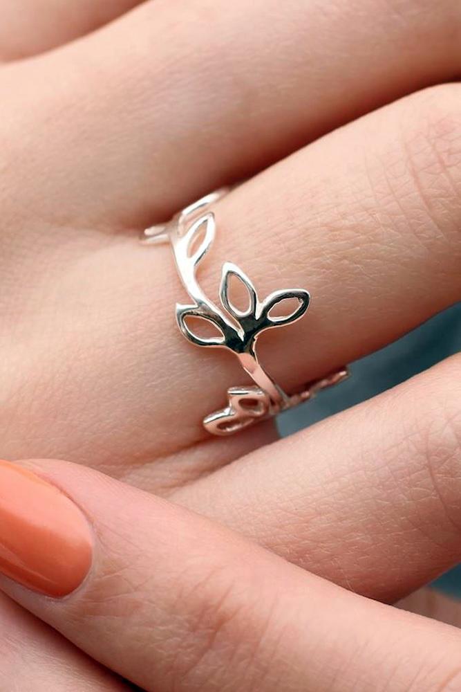 floral engagement rings unique band rose gold