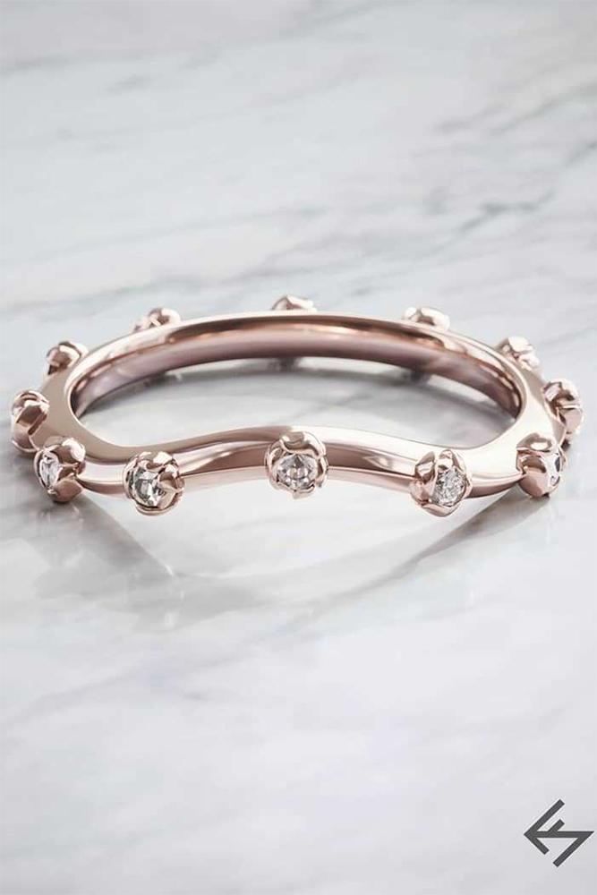 floral engagement rings unique rose gold pave band