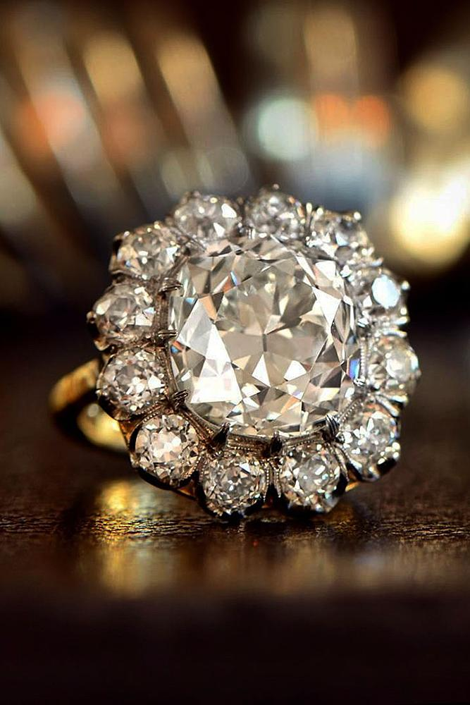 floral engagement rings vintage round cut halo yellow gold
