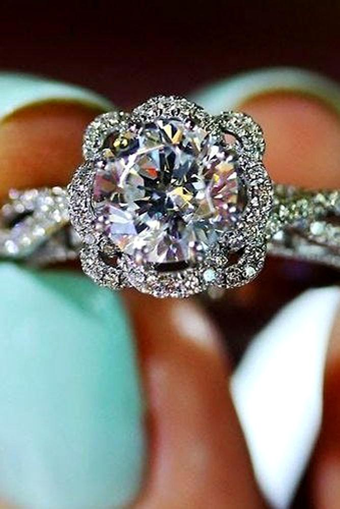 floral engagement rings white gold center stone diamond twist ring