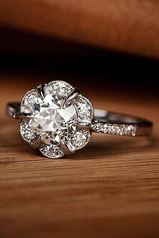 floral engagement rings white gold halo vintage