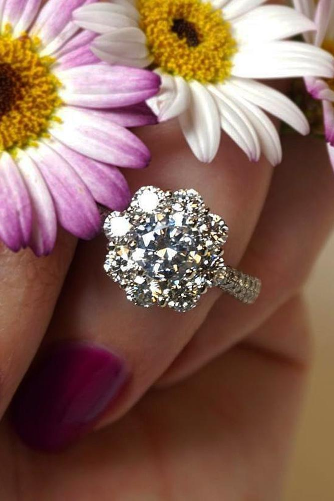 floral engagement rings white gold pave band