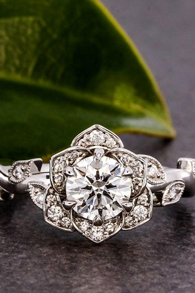 floral engagement rings white gold round center stone