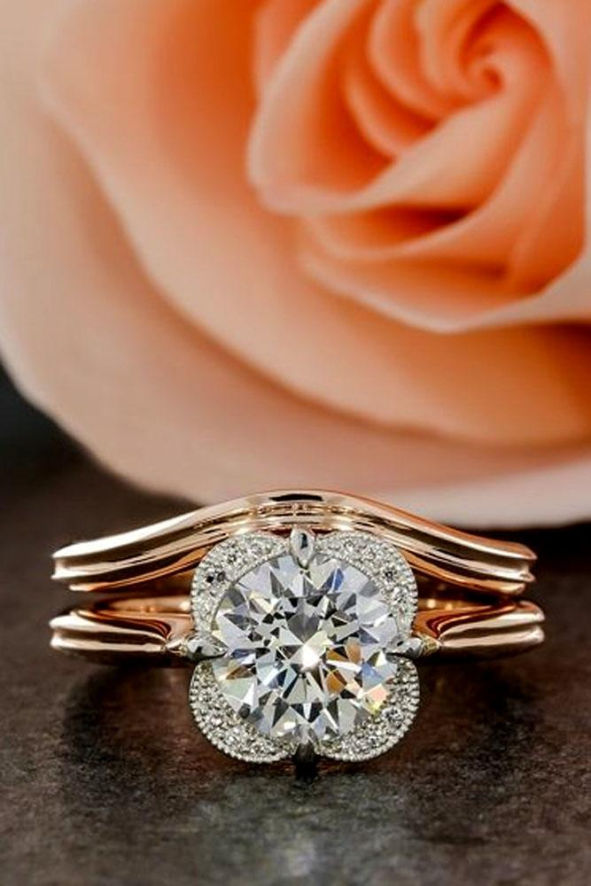 floral wedding set rose gold round diamond