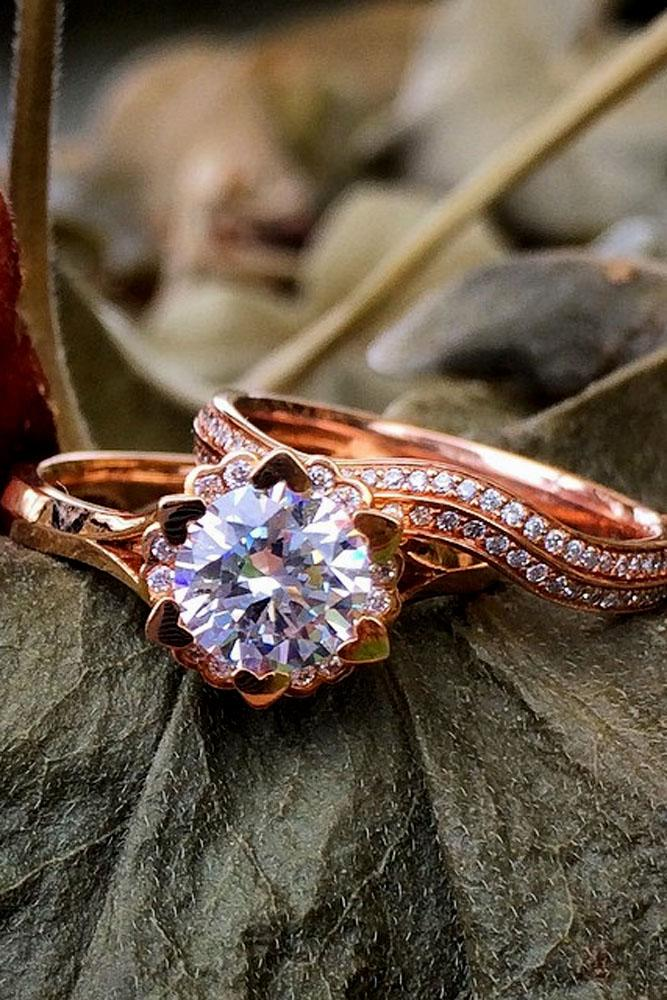 floral wedding set round center diamond pave band
