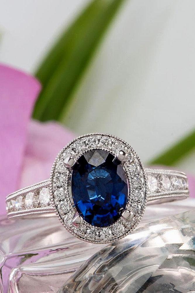 oval center stone pave band diamond halo in white gold sapphire engagement rings