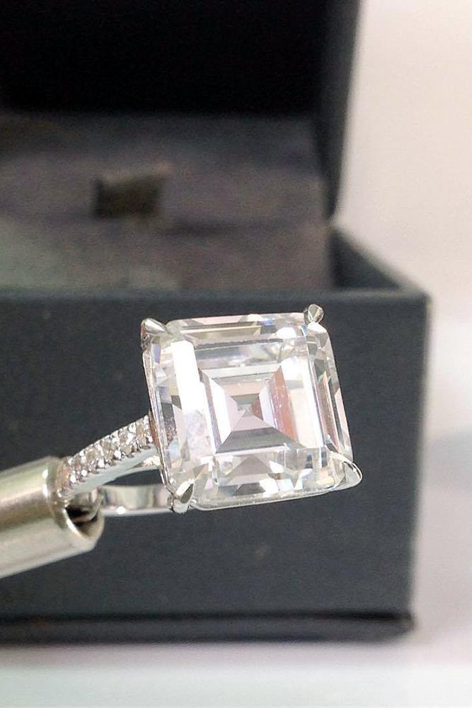 princess cut diamond white gold solitaire pave band