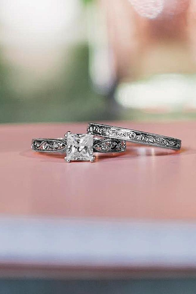princess cut engagement rings diamond solitaire vintage wedding set