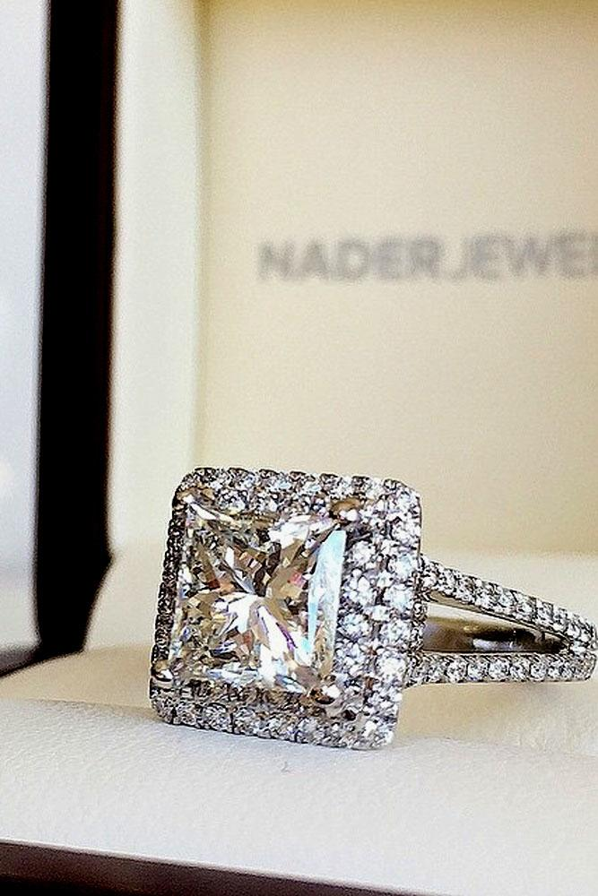 princess cut engagement rings double halo pave band white gold
