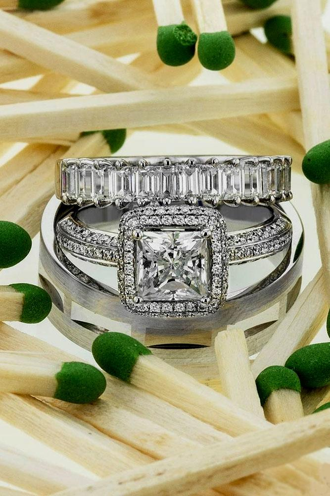 princess cut engagement rings halo center stone white gold pave band