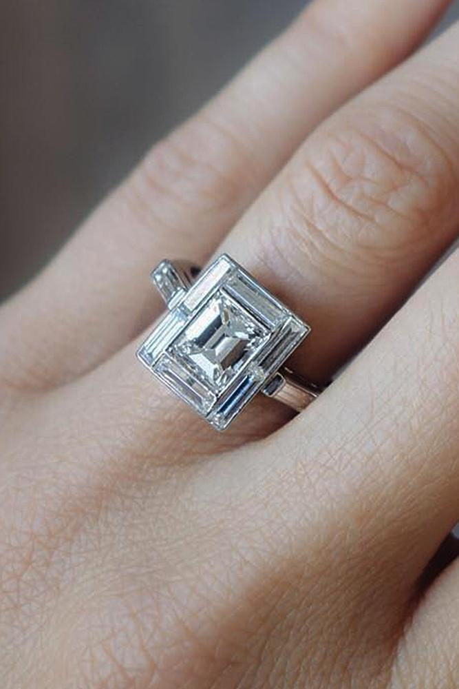 princess cut engagement rings halo diamond vintage gold
