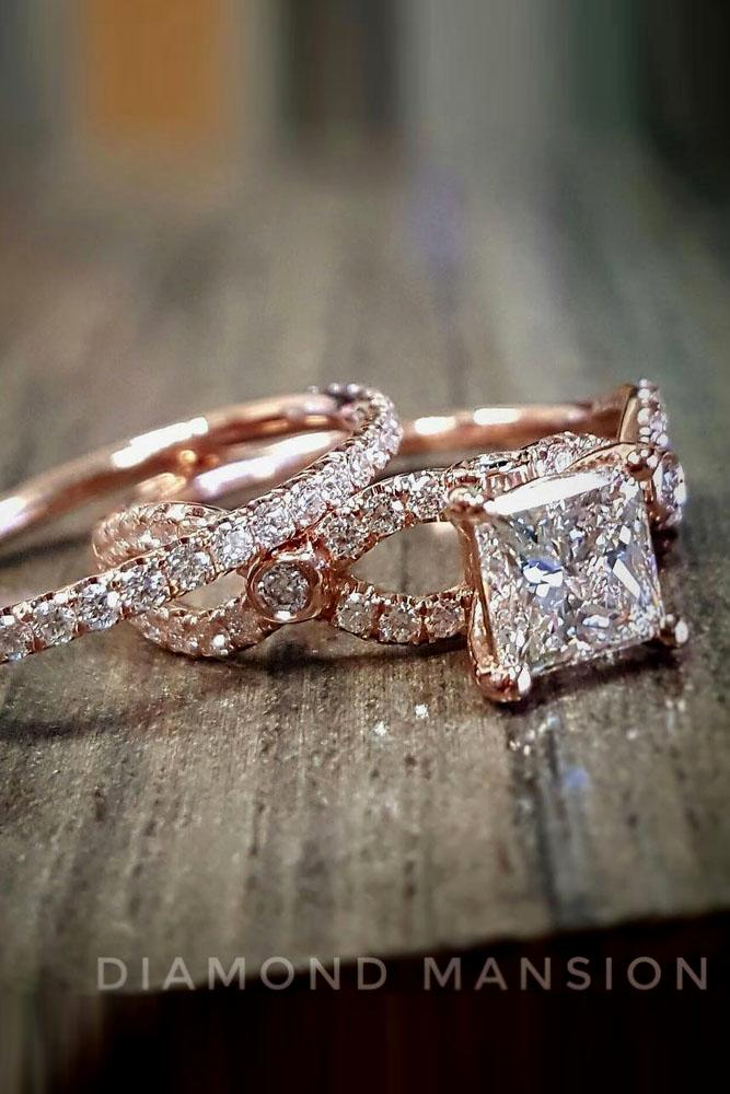 princess cut engagement rings rose gold twist center stone