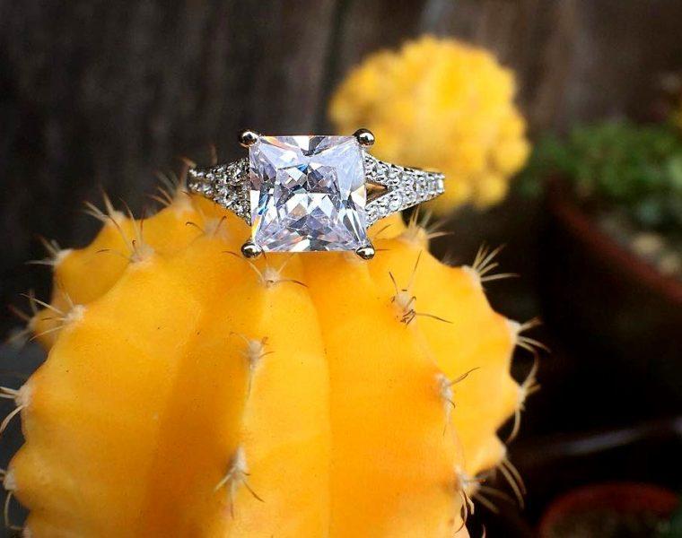 princess cut engagement rings split white gold pave band
