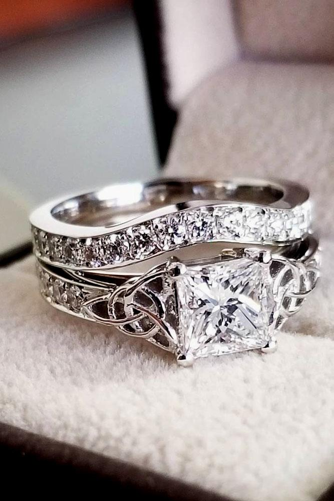 princess cut engagement rings unique white gold