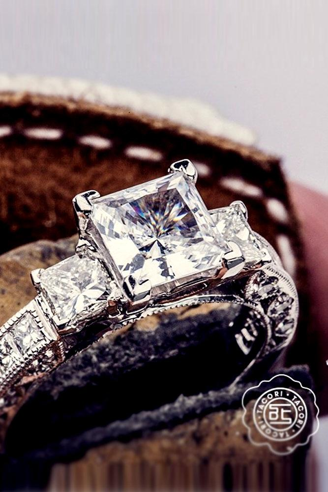 princess cut engagement rings white gold three stone vintage