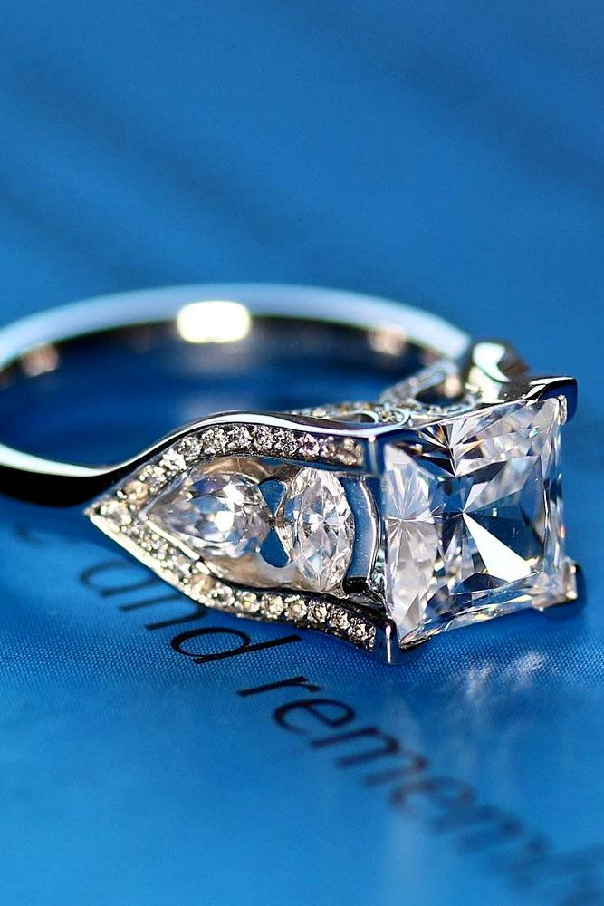 princess cut engagement rings white gold unique