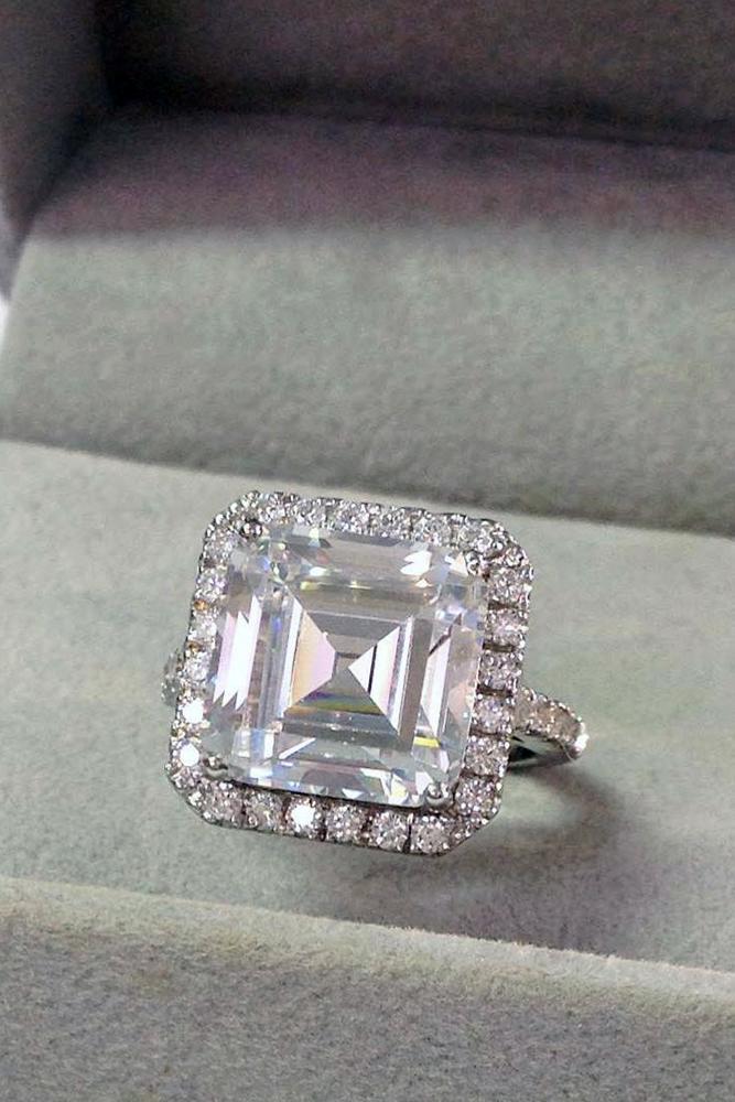 princess cut engagment rings diamond halo white gold
