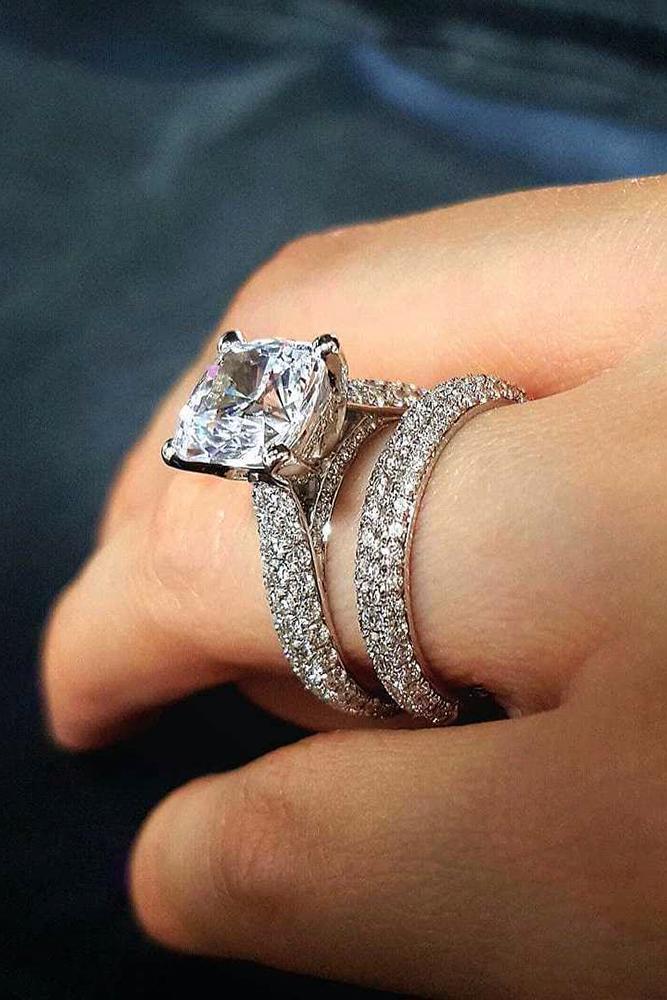 princess cut engagment rings diamond pave band white gold set