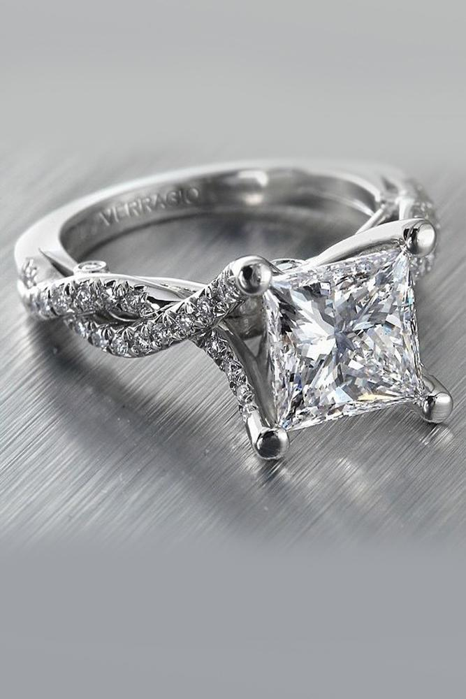 princess cut engagment rings diamond white gold twist pave band