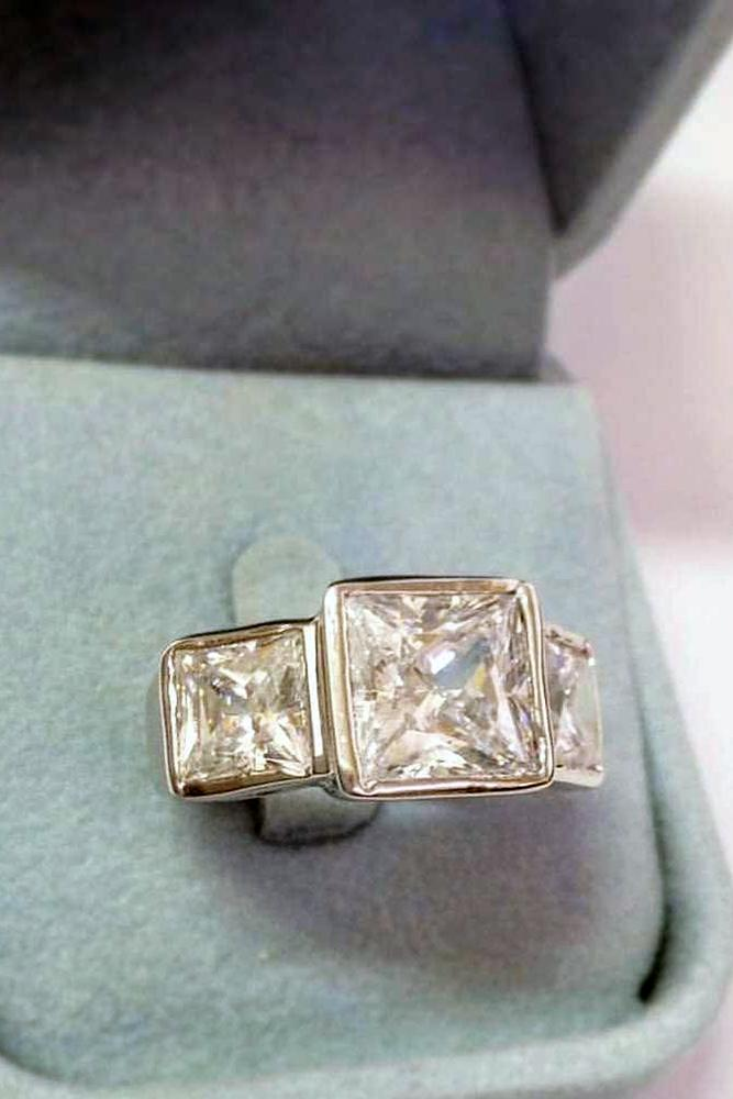 princess cut engagment rings three stones modern diamond white gold